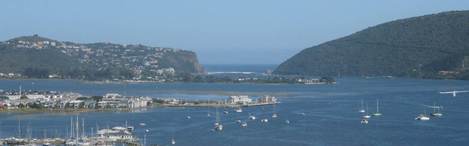 Knysna Estuary, the Heads and Indian Ocean. View from Westhill Luxury Guest House. Book now.